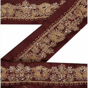 Vintage Sari Border Antique Hand Beaded Indian Trim Sewing Maroon Lace Wide Selection; Crafts