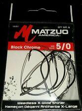 Matzuo 191011 size 5/0 Black Chrome Weedless X Wide Shiner Fishing Hooks Qty 5