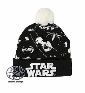 New Star Wars Tie Fighter Embroidered Knit Cap Winter Hat Pom Beanie ... b7e7ff486e2d