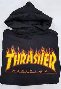 Felpa-thrasher-nera-con-cappuccio-uomo-donna-logo-fiammato