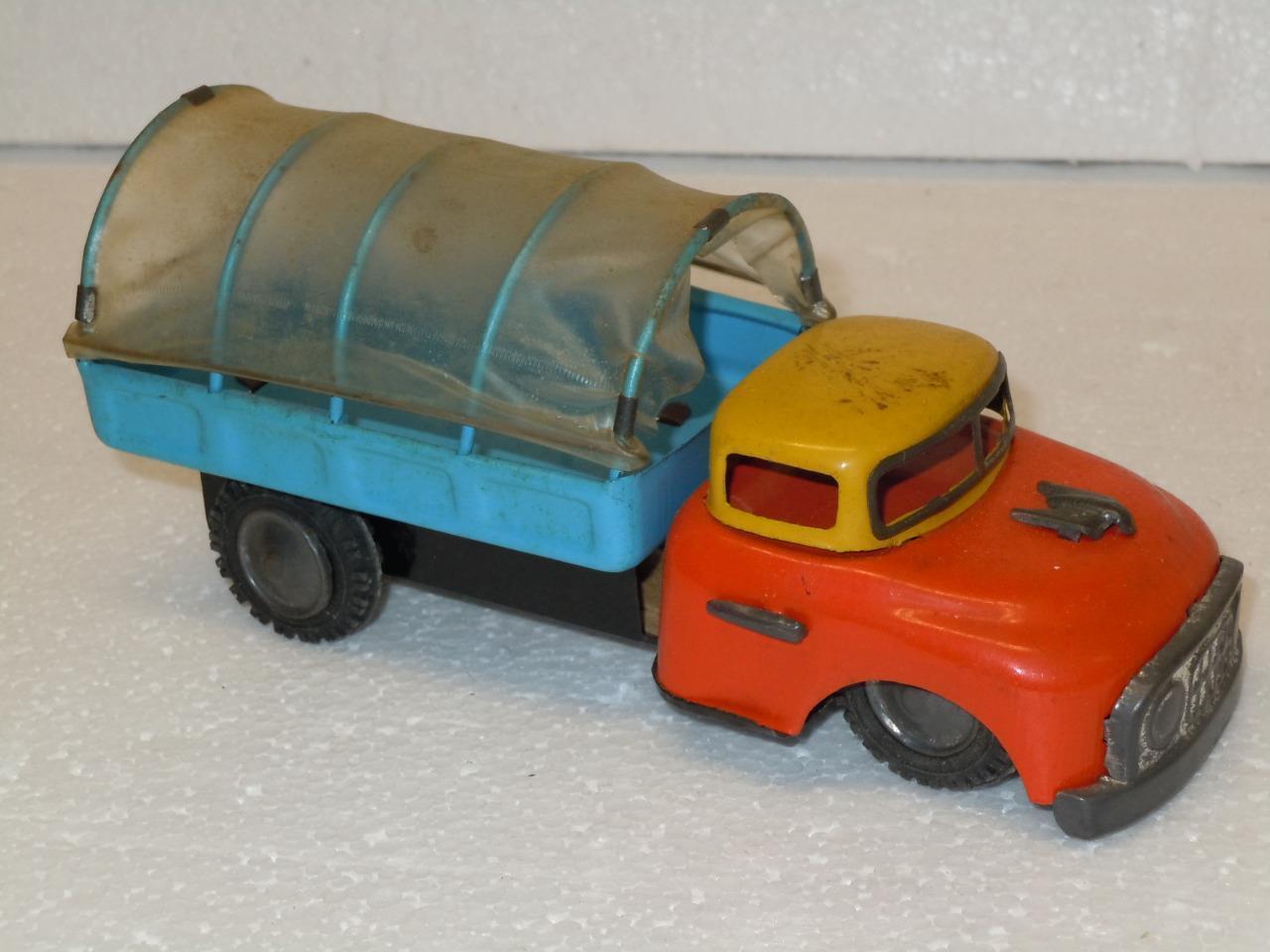 Friction Tin Litho Toy 6  Orange & Blau Pickup Truck Soft Canopy Cover Japan HTF