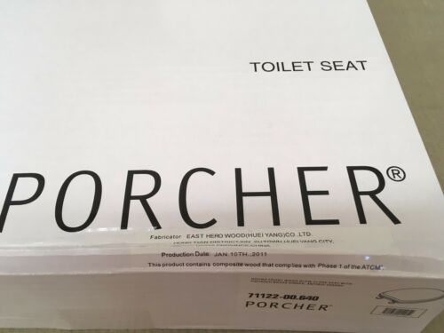 Porcher 71122-00.640 ROUND FRONT Furniture Finish Toilet Seat with PB Hinges