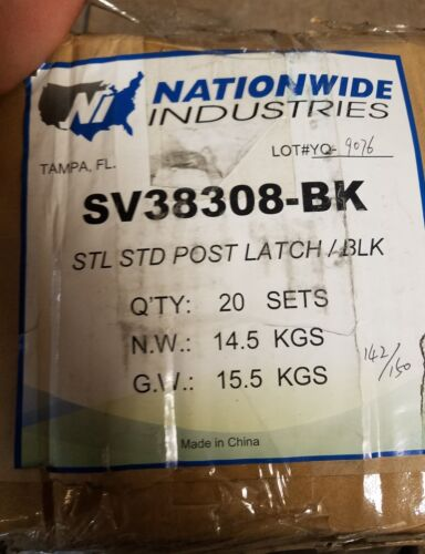 Fence Post Mount Steel Gate Latch Kit Self Closing Screws Hardware SV38308 Black