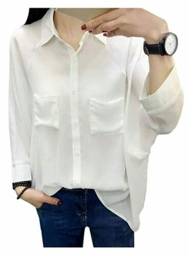 Womens Oversized Stretch Batwing Sleeve Shirt Tunic Blouse Casual Loose Fit Tops