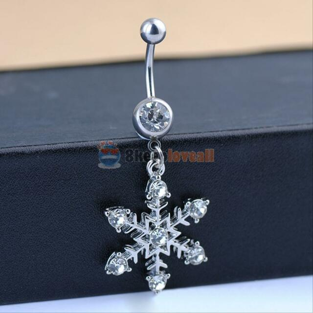 Fashion Cool Snowflake Rhinestone Navel Belly Button Ring Bar Stainless Steel