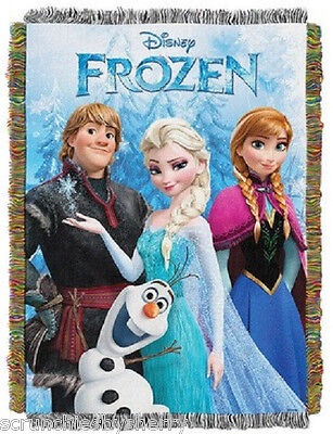 Disney Frozen Elsa Anna Tapestry Throw Blanket Olaf Kristoff New