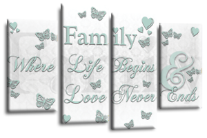 Family Love Quote Art Picture White Duck Egg Canvas Print 4 Panel Split Wall
