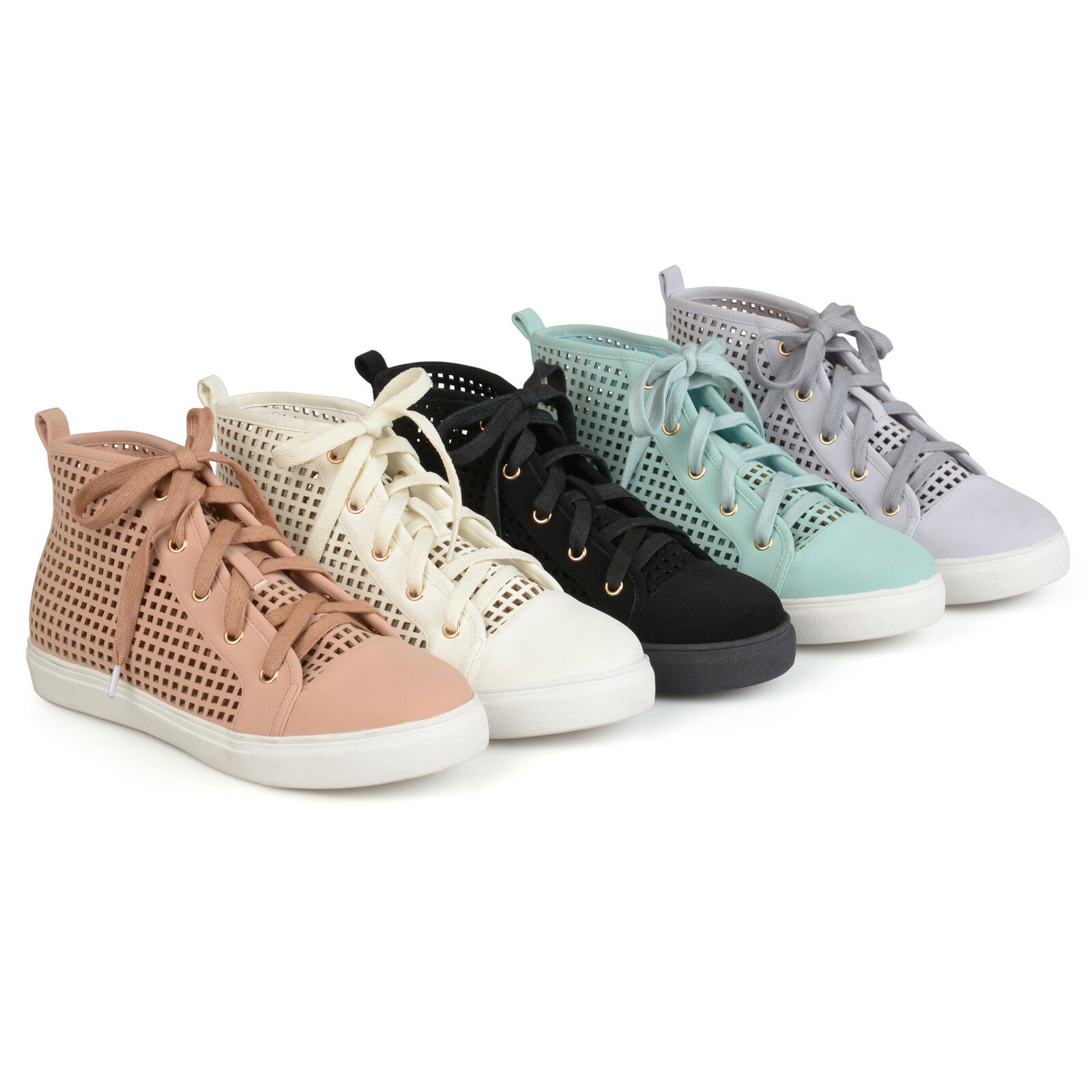 Brinley High Co Womens Faux Leather High Brinley top Lace up Laser cut Sneakers New 1c790e