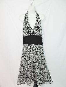 Maggy-London-16-NWT-Black-White-Floral-Halter-Dress-Silk-Sleeveless-Empire-NEW
