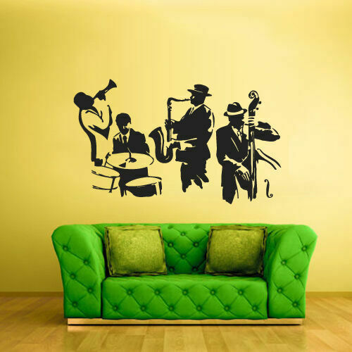 Wall Vinyl Sticker Bedroom Decal Jazz Band Music Notes Z2338