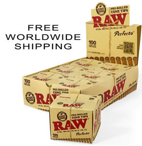 RAW Perfecto Pre Rolled Cone Tips 8 Pack Unrefined Filter for Rolling Paper