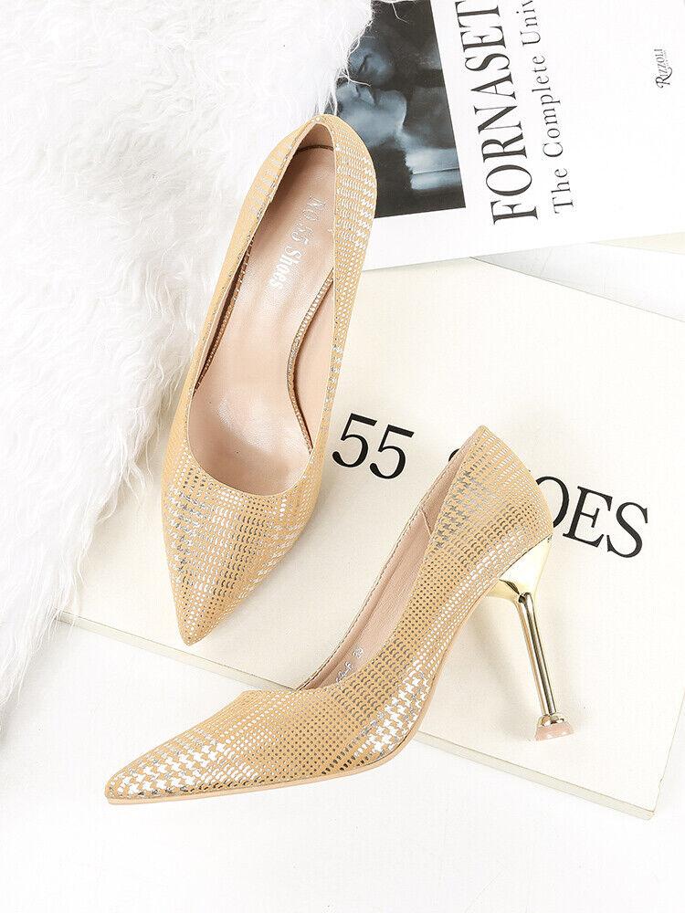 shoes decolte eleganti stiletto 10 cm gold strass comodi simil pelle 1567