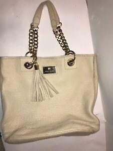 Details About Trina Turk Satchel Purse Tote Leather Double Handles Handbag Beige Ex
