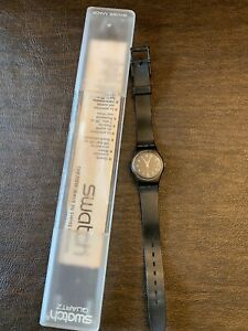 Vintage-Swatch-Watch-Black-With-Case