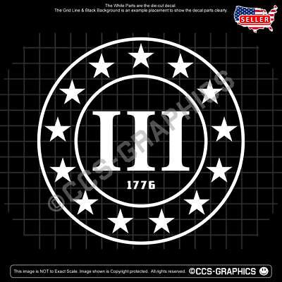 3 PERCENTER Decal 1776 Three Percent patriot trump car window sticker maga usa %