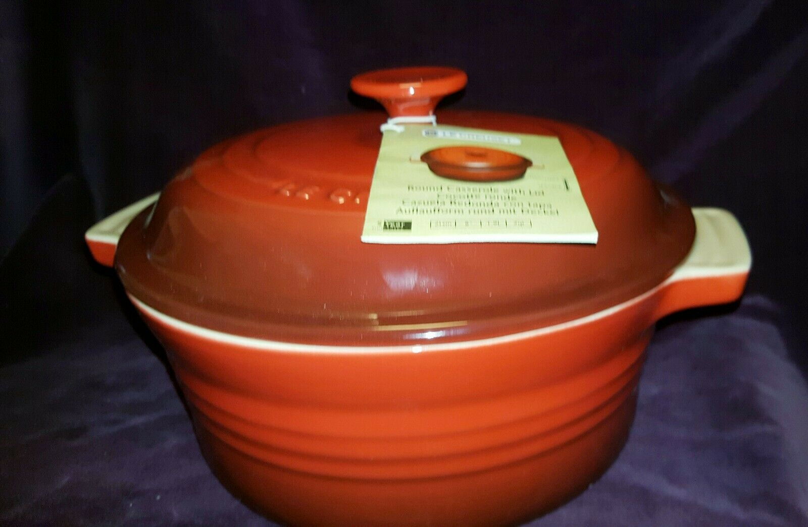 Le Creuset Stoneware 1 1 2 Qt Round Casserole Color Cherry Red For Sale Online Ebay