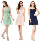 Short Prom One Shoulder Bridesmaid Cocktail Party Gowns Evening Dresses 03535