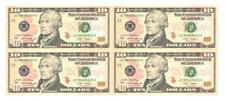 USA UNCUT 2x2 TEN DOLLARS US$10 banknote (UNC) 10美元4连体钞横版