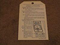 1955 1956 1957 Chevrolet Passenger Car Heater Instructions Dash Tag Hangtag