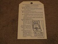 1955 1956 1957 Chevrolet Passenger Car Heater Instructions Dash Tag Hangtag
