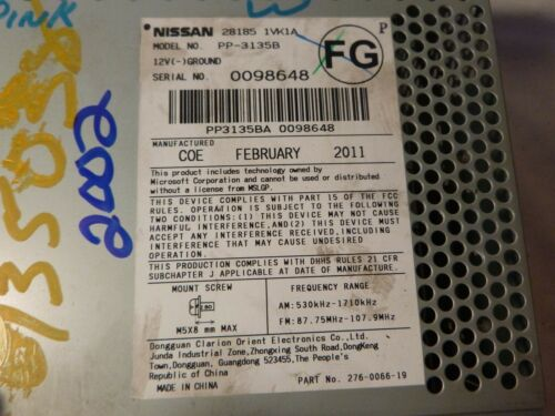 11 12 13 14 Nissan Rogue Radio Cd Mp3 Player 28185-1VK1A CY26G Bulk 2002
