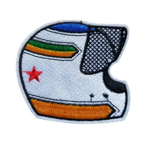 White Racing Helmet Iron On Patch Sew on Embroidered New motor racing