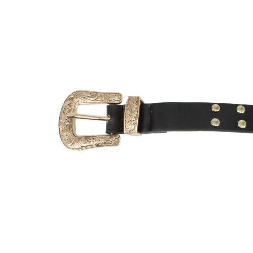 25mm Wide Western Belt Rivet Studded Vintage Style Buckle PU Leather Waistband