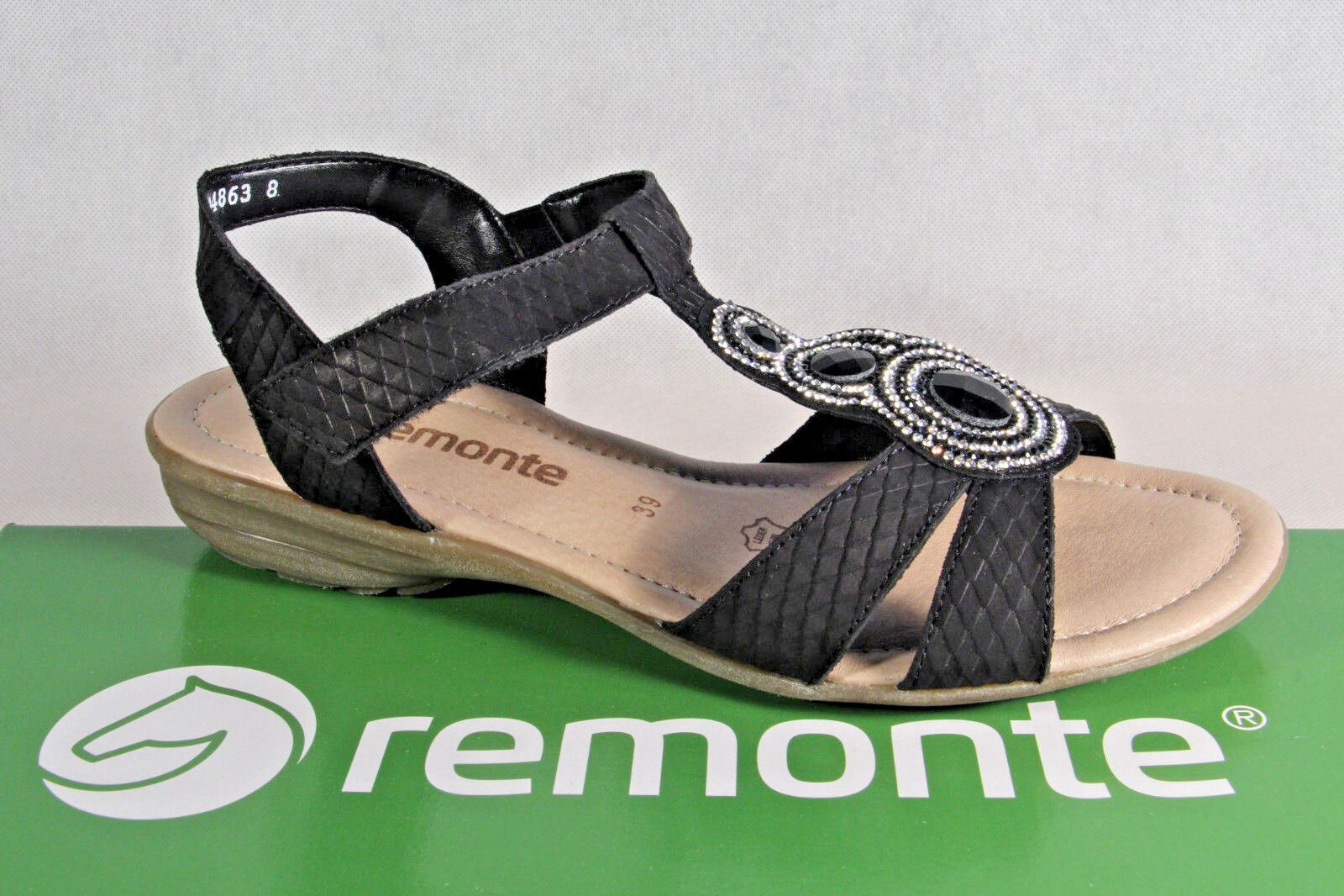 Remonte Sandal Ankle-Strap Sandal Black Leather Footbed Footbed Leather Real Leather NEW 2cc57b