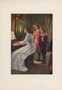 ANTIQUE VICTORIAN WOMAN BLUE DRESS CHILDREN PLAYING ORGAN CANDLE COLOR OLD PRINT