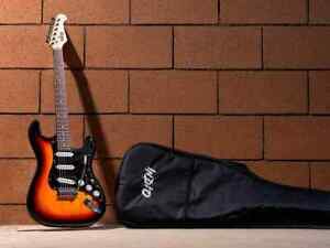 Indio Strat, sunburst w/killer setup incredable quality, super bundle, 0 freight