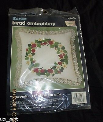 "NEW SEALED BUCILLA BEAD EMBROIDERY STRAWBERRY WREATH KIT 49464 12"" SQUARE"