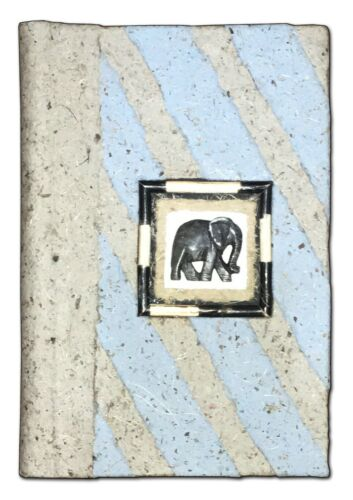 Handmade Paper Journal w/ Stone Elephant 6x8.5 Notebook Diary Recycled Unique
