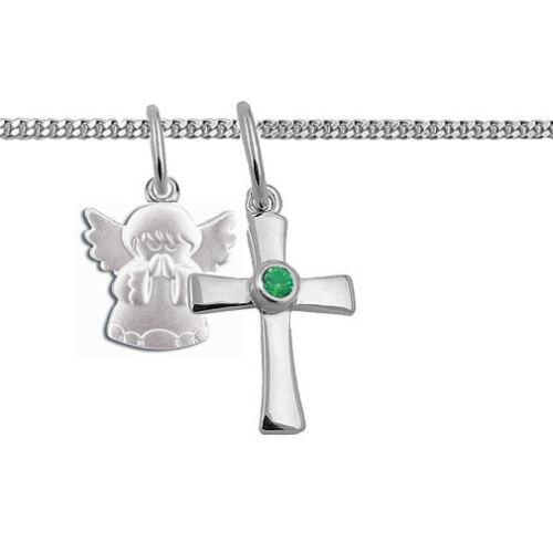 Kinder Kommunion Kreuz Anhänger betender Schutz Engel und Kette Echt Silber 925
