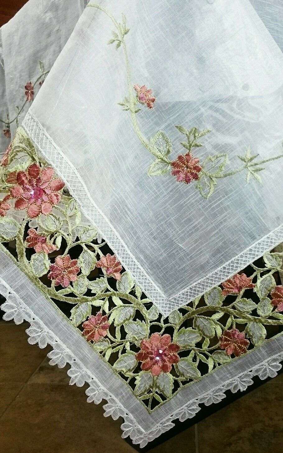 72x90  Embroidery Sheer Handmade Rhinestone Jeweled Organza Cutwork Tablecloth