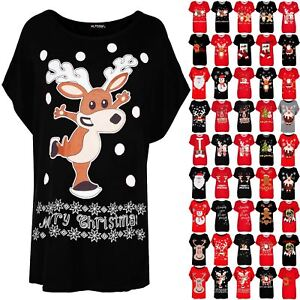 2be76fc3b7f Image is loading Womens-Ladies-Oversized-Batwing-Xmas-Big-Nose-Reindeer-
