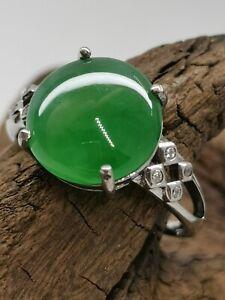 Ice Green Burmese Jadeite Jade Ring/冰阳绿天然缅甸翡翠戒指/ナチュラルビルマ翡翠リング