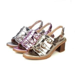 Women-039-s-Patent-Leather-Sandals-Chunky-Mid-Heels-Ankle-Strappy-Buckle-Shoes-Size