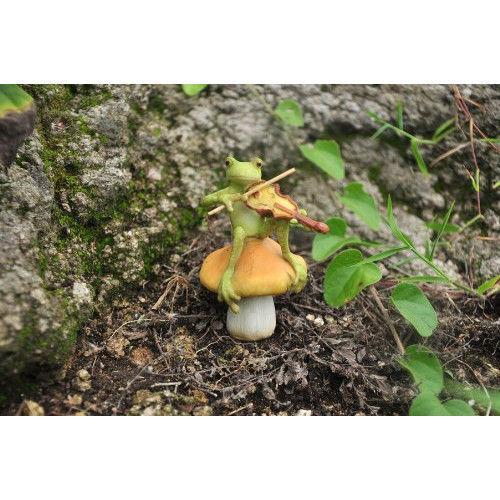 Fiddler Frog Mushroom Figurine Pond Statue Decor Lawn Fairy Garden Sculpture  | EBay