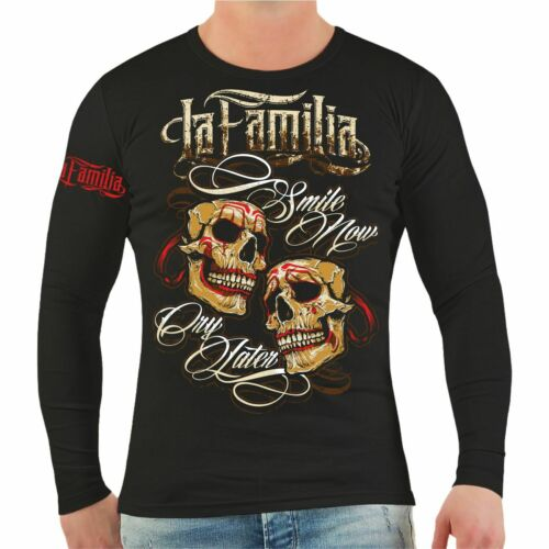 Longsleeve La Familia smile now cry later tattoo blood blut schädel totenkopf