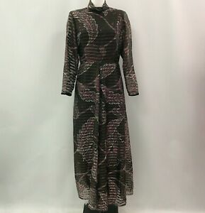 TINA-WARREN-Brown-Striped-Floral-Maxi-Dress-Vintage-Occasion-Size-UK-12-500064