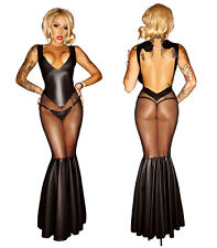 Sexy Erotic WET LOOK pvc Seductive Clubwear Role Play Cocktail Long Black Dress