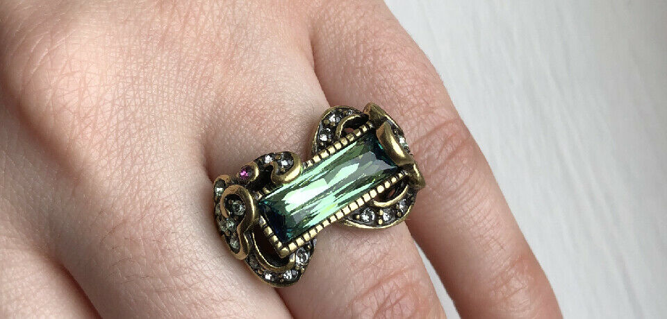 Heidi Daus Bronze Ring -  Baguette Brilliance  - Size 5 or 6 East West Green NEW