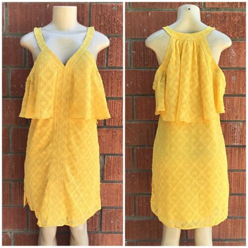 SKIES ARE BLUE Anthro Mustard Flowy Open Shoulder Short Dress Retails $85
