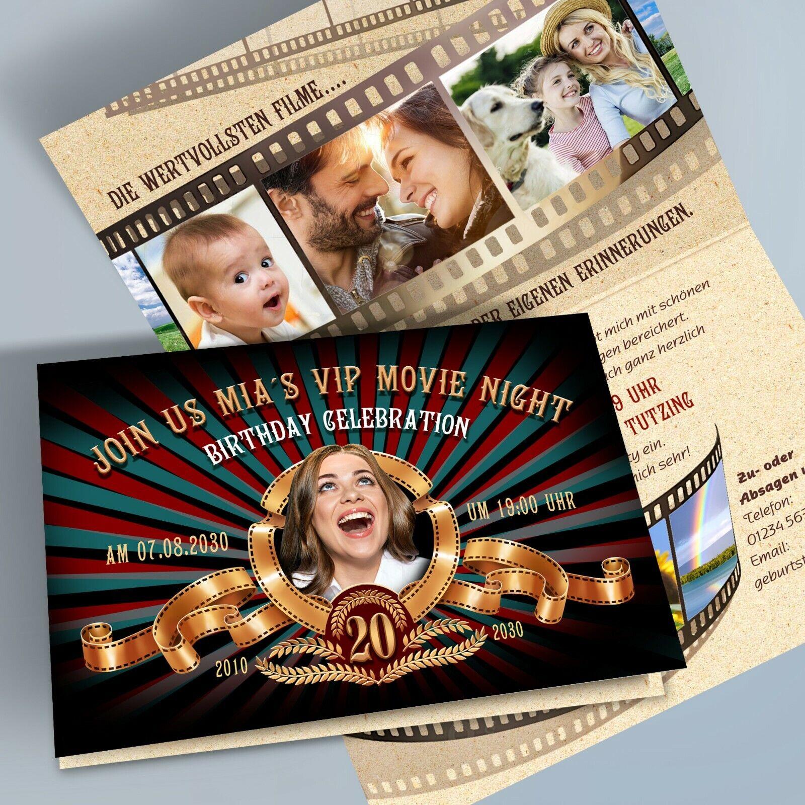 Personalisierte Einladungskarten Geburtstag Cinema Kino Filmstreifen 4