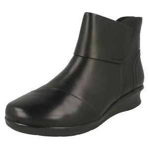 Boots Ankle Clarks Black 'hope Leather Ladies Track' FqFw76x