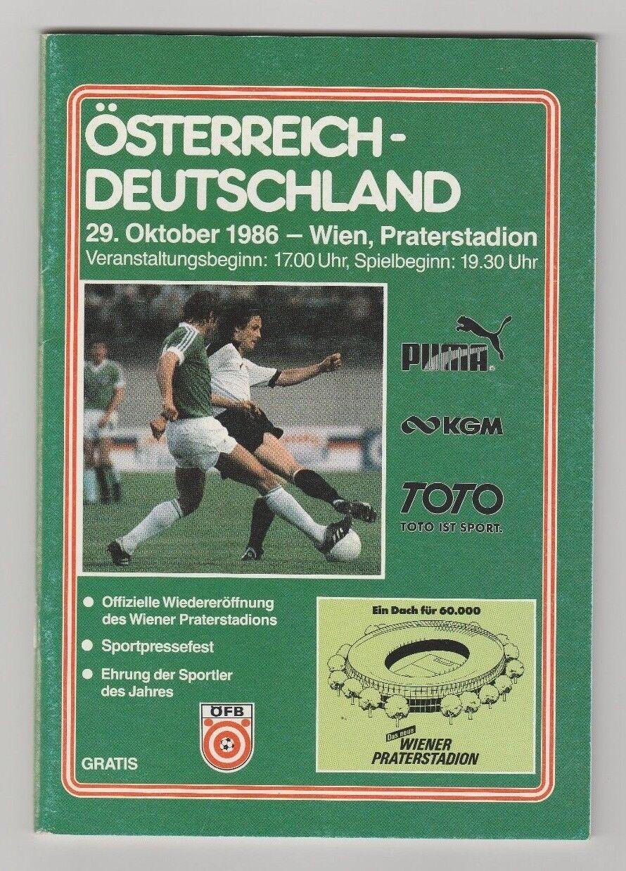 Original PRG    29.10.1986   ÖSTERREICH - DEUTSCHLAND      SEHR SELTEN