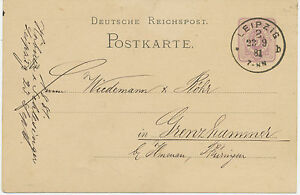 DT-REICH-LEIPZIG-2-K1-a-5-Pfennig-violett-Kab-GA-Postkarte-n-GRENZHAMMER