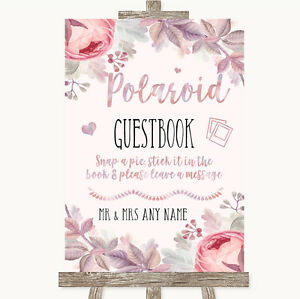 Blush Rose Gold & Lilac Polaroid Guestbook Personalised Wedding Sign ...