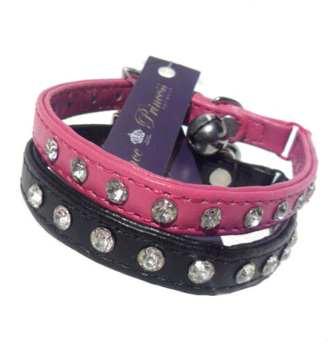 Diamante Crystal SAFETY CAT COLLAR Designer in White Pink Rose Black NEW w//Tags