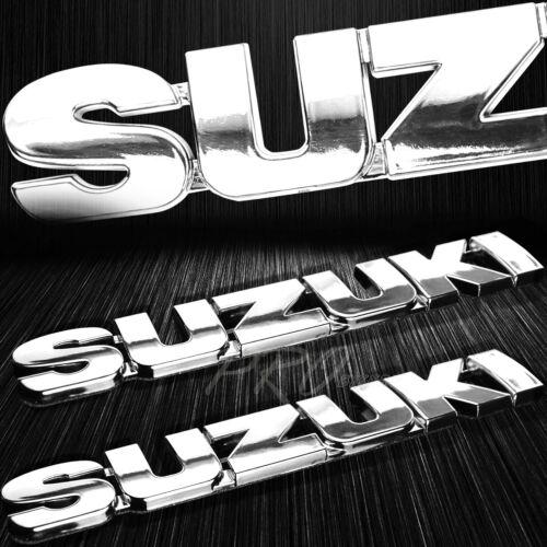"6/"" 3D 4mm Thick Emblem+2/"" Suzuki Logo Fender//Fairing Badge Sticker Decal Chromed"
